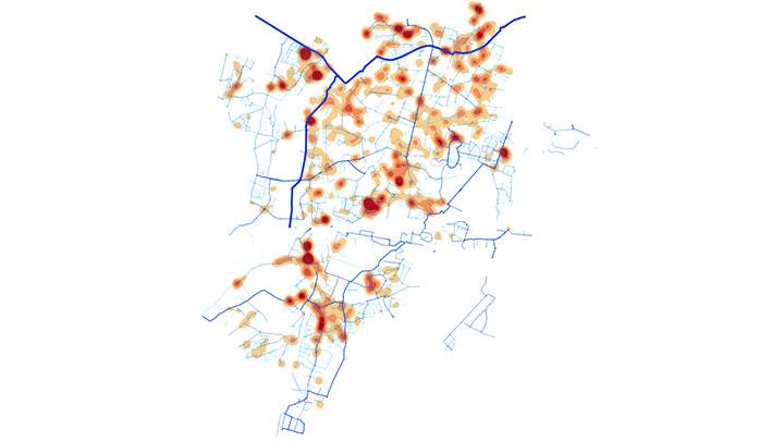 Densité des fuites sur un réseau de l'Essonne (91)