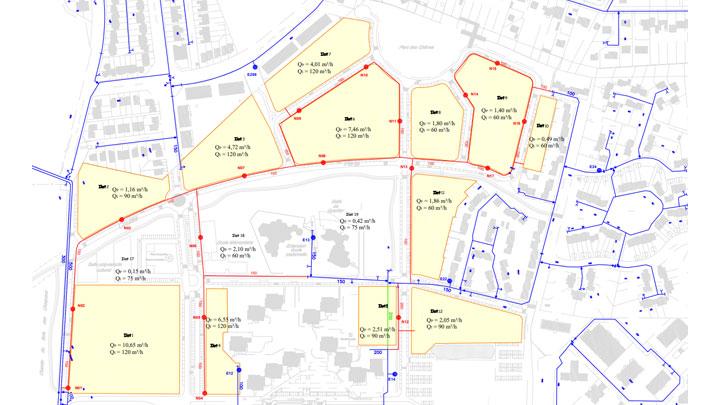Extrait plan de définition du réseau AEP d'un nouveau quartier à Fleury-Mérogis (91)
