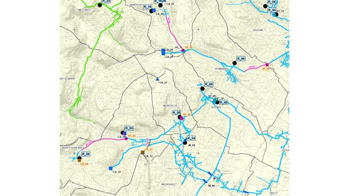 Extrait carte de localisation de conduites d'interconnexion sur le territoire CABCS (21)